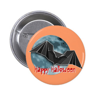 Origami Paper Bat with Full Blue/Yellow/Brown Moon Button