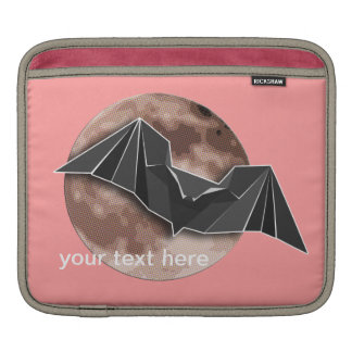 Origami Paper Bat with Full Blue/Yellow/Brown Moon iPad Sleeve