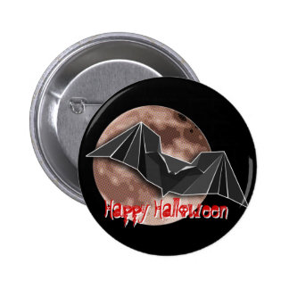 Origami Paper Bat with Full Blue/Yellow/Brown Moon Pinback Button