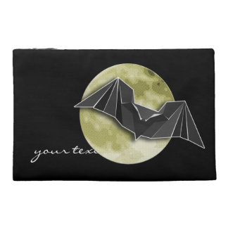 Origami Paper Bat with Full Blue/Yellow/Brown Moon Travel Accessory Bags