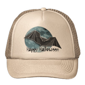 Origami Paper Bat with Full Blue/Yellow/Brown Moon Trucker Hat