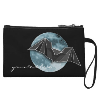 Origami Paper Bat with Full Blue/Yellow/Brown Moon Wristlet Wallet