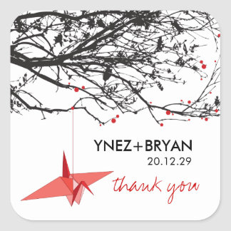 Origami Paper Crane Tree Branch Thank You Wedding Square Sticker
