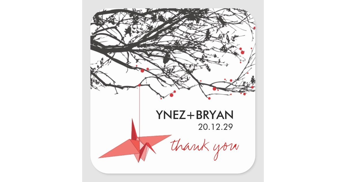 origami paper crane tree branch thank you wedding square