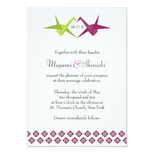 Origami Paper Crane Wedding Card