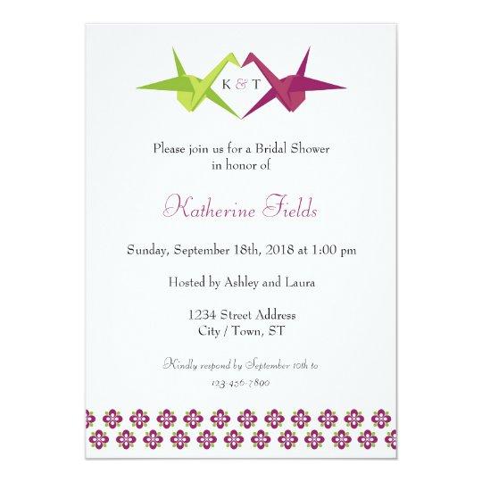 Origami Paper Crane Wedding Invitation Zazzle Com