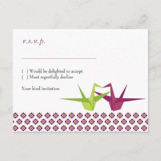 Origami Paper Crane Wedding Invitation Postcard Zazzle Com