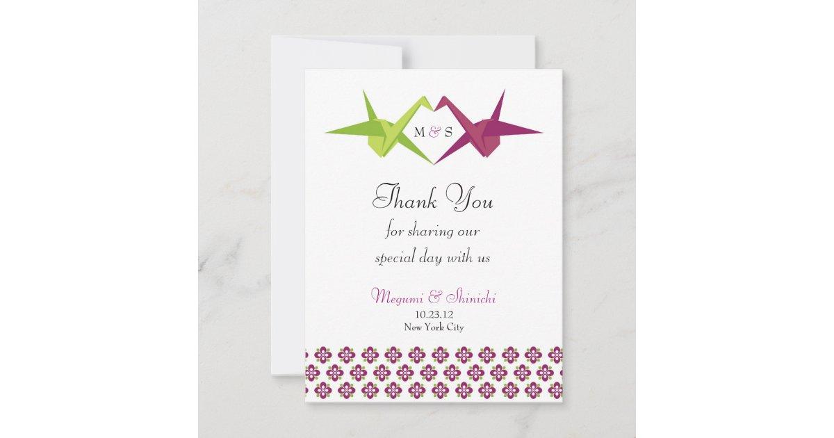 Origami Paper Crane Wedding Thank You Card   Zazzle.com