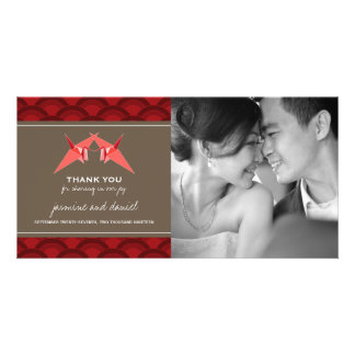 Origami Paper Cranes Asian Wedding Thank You Card