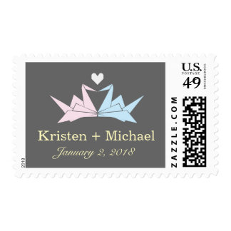 Origami Paper Cranes Heart (Pewter) Wedding Postage Stamp