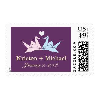 Origami Paper Cranes Heart (Purple) Wedding Stamp