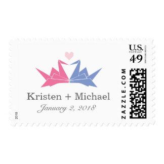 Origami Paper Cranes Heart Wedding Stamps