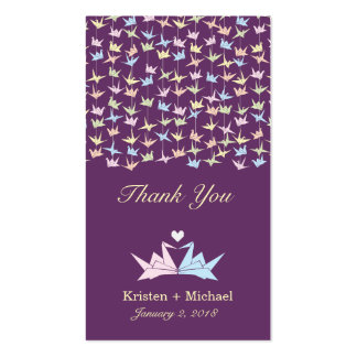 Origami Paper Cranes (Purple) Thank You Favor Tags Business Card
