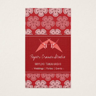 Origami Paper Cranes Sakura Cherry Blossoms Zen Business Card