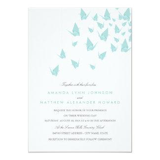 Origami Paper Cranes Wedding Card