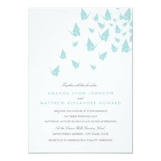 Origami Paper Cranes Wedding Card