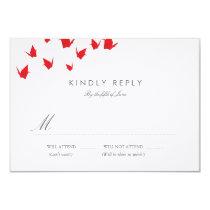 Origami Paper Cranes Wedding RSVP Card