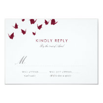 Origami Paper Cranes Wedding RSVP Card
