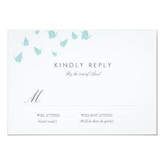 Origami Paper Cranes Wedding RSVP 3.5x5 Paper Invitation Card