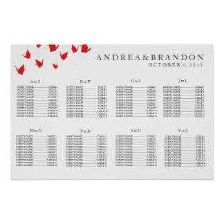 Origami Paper Cranes Wedding Seating Chart Poster