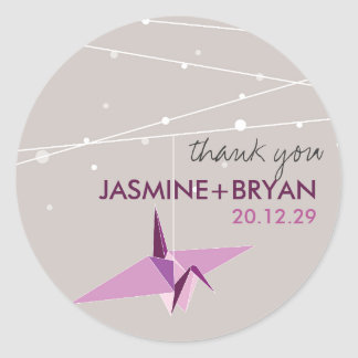 Origami Plum Paper Crane Wedding Lights Thank You Round Stickers