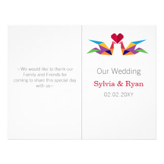 origami rainbow cranes bi fold Wedding program
