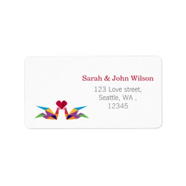 origami rainbow cranes return address label