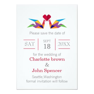 origami rainbow cranes save the date card
