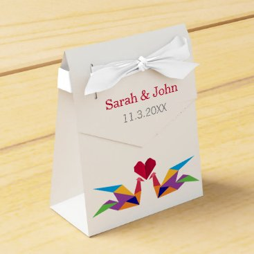 origami rainbow cranes Wedding favor box