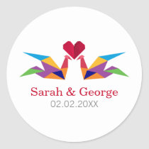origami rainbow cranes Wedding favors stickers