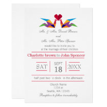 origami rainbow cranes wedding invitations