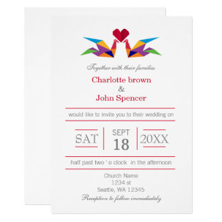 origami rainbow cranes wedding invitations - Rainbow Wedding Invitations