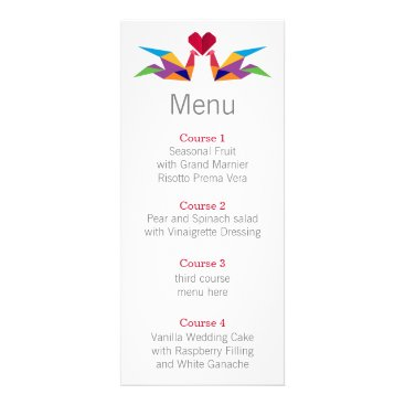 origami rainbow cranes Wedding menu