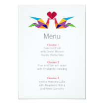 origami rainbow cranes wedding menu cards