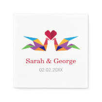 origami rainbow cranes Wedding personalized napkin