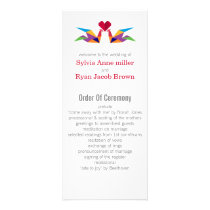 origami rainbow cranes Wedding programs