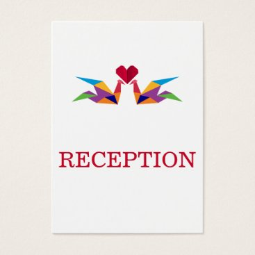 origami rainbow cranes wedding reception invite