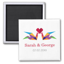 origami rainbow cranes Wedding save date magnets