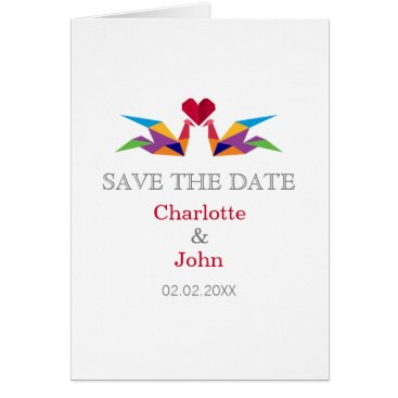 origami rainbow cranes Wedding save the dates Card