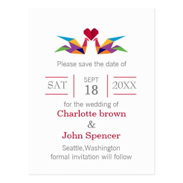origami rainbow cranes wedding save the dates postcard