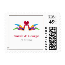 origami rainbow cranes wedding stamps