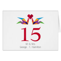 origami rainbow cranes Wedding table seating card