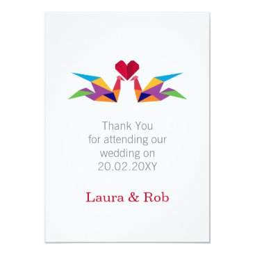 origami rainbow cranes Wedding Thank You cards