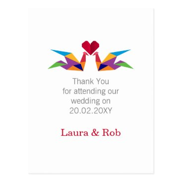 origami rainbow cranes Wedding Thank You Postcard