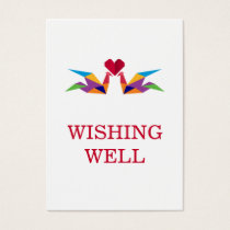 origami rainbow cranes wedding wishing well business card