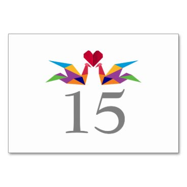 origami rainbow paper cranes Wedding table numbers