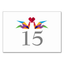 origami rainbow paper cranes Wedding table numbers Card