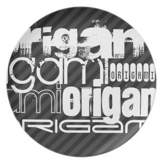Origami; Rayas negras y gris oscuro Platos Para Fiestas