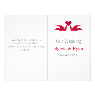 origami red cranes bi fold Wedding program