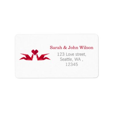 origami red cranes return address label